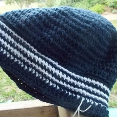 crocheted slouch beret made from pure wool in classic navy and white