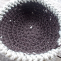Crocheted basket made from pure wool. Dark brown and beige