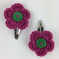 Two Pairs Flower Hair Clips | Pink & Blue | Gift Idea | Crochet | Ready to Post