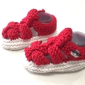 3 - 9 mths Baby Sandal Shoes, FREE POST , White  & Red , Hand Knit