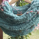 spring Mobius II hand knit turquoise cotton viscose Mobius scarf ON SALE