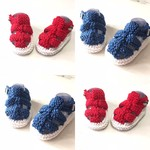 3 - 9 mths Baby Sandal Shoes, FREE POST , White / Dark Blue or Red , Hand Knit