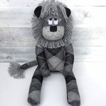 'Leroy' the Sock Lion - grey and black argyle- *MADE TO ORDER*
