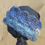 Cowl collar, neck warmer, ear snug in soft wool.  Blues