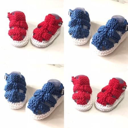 3 - 9 mths Baby Sandal Shoes, White / Dark Blue or Red , Hand Knit