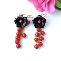 Black ONYX Carved Flower Gold-Plated Flamenco Style Earrings.