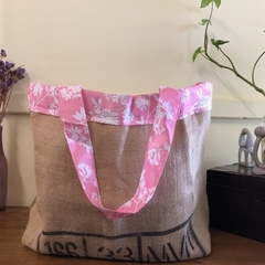 Recycled Coffee Burlap Bag.  Grocery/Shopping Tote -  Waterproof Pink