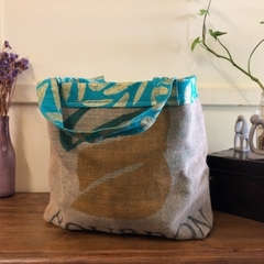 Recycled Coffee Burlap Bag.  Grocery/Shopping Tote -  Gold Leaf