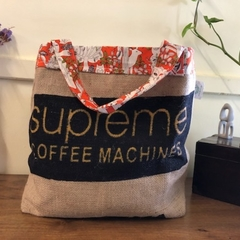 Recycled Coffee Burlap Bag.  Grocery/Shopping Tote - Supreme Orange