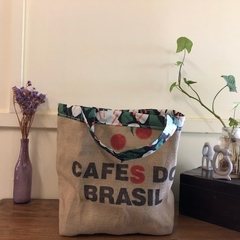 Recycled Coffee Burlap Bag.  Grocery/Shopping Tote -  Waterproof Charcoal