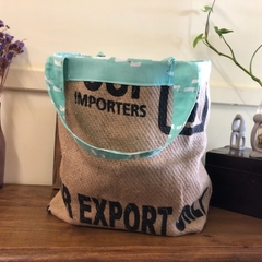 Recycled Coffee Burlap Bag.  Grocery/Shopping Tote -  Duck Pond