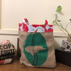 Recycled Coffee Burlap Bag.  Grocery/Shopping Tote -  Waterproof Red Apples
