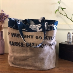 Recycled Coffee Burlap Bag.  Grocery/Shopping Tote -  Sloth