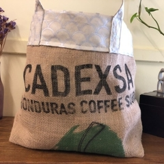 Recycled Coffee Burlap Bag.  Grocery/Shopping Tote -  Silver Shells