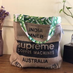 Recycled Coffee Burlap Bag.  Grocery/Shopping Tote - Leaves