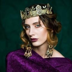 Fleur de Nuit Gold Crown Tiara,Fascinator