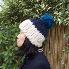 Chunky knit merino beanie hat with Pom Pom