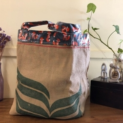 Recycled Coffee Burlap Bag.  Grocery/Shopping Tote -  Waterproof Foxes