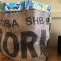 Recycled Coffee Burlap Bag.  Grocery/Shopping Tote -  Monsters