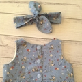 Size 0-3 months tea party playsuit and headband, blue floral