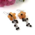 Orange CARNELIAN Carved Flower Sterling Silver Lovely Earrings.