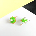 Kiwi Fruit Umbrella Drop Earrings (Green) - Handmade Kawaii Brollies
