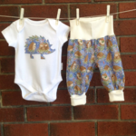 BABY BOY HEDGEHOG OUTFIT, CHOOSE YOUR SIZE AND BODYSUIT SLEEVE LENGTH