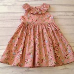 Dusty pink floral ruffle collar dress size 3, ready to ship