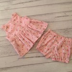 Size 00 baby girl peplum top and bloomers, pink rose floral set