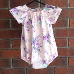 Short sleeved pink and lavender floral romper, size 12-18 months, size 1 girl