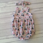Size 6-12 months pink vintage look floral romper and matching headband