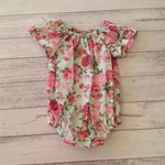 Size 3-6 months aqua and pink floral bubble romper , short sleeved