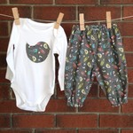 Baby girl size 3-6 months grey  bird and feather outfit
