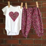Baby girl size 3-6 months leopard print outfit, short sleeved bodysuit and pants