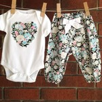 Baby girl size 3-6 months blue floral outfit