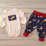 Baby girl navy unicorn outfit, jersey pants and bodysuit, size 3-6 months