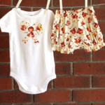 BABY GIRL , cream vintage look floral outfit, size 6-12 months, size 0 baby girl