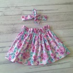 High waisted pink and lavender floral skirt, sizes 1-5, made to order