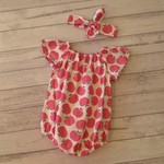 Pink apples romper and matching headband size 6-12 months