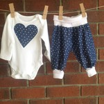 Baby girl denim hearts two piece set, size NB to 18 mths