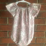 Choose your size, baby girl paisley romper, short or long sleeves, NB to 18 mths