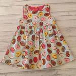 Size 2 girl donut dress, cotton fabric dress, little girls dresses