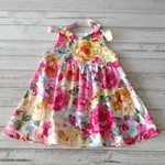 Little girl's pink floral cotton shoulder tie dress, size 2