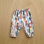 Boho feather harem pants, up to size 3T, choose your size