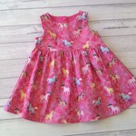 Pink pony dress size 12 months /  cotton fabric //ready to ship
