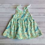 Size 12 months dress, mint and aqua feather design
