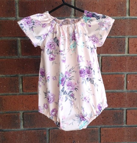 Short sleeved pink and lavender floral romper, size 12-18 months, size 1 girl