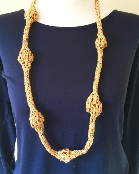 Handmade lightweight knitted necklace