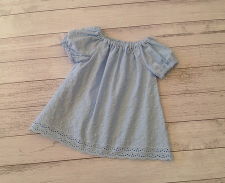 Blue cotton broderie top, size 6-12 months