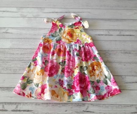 Little girl's pink floral cotton shoulder tie dress, size 2